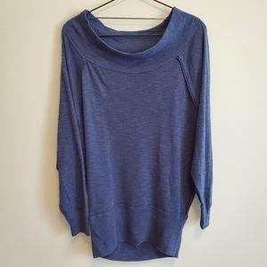 Free People | Blue Thermal Open Neck Lounge Top